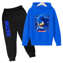 2021 Spring And Autumn Children's Clothing Sonic 3D Printing Suit Hooded Top + Pants 2-Piece Sports Suit Casual Baby Suit Boy Cl