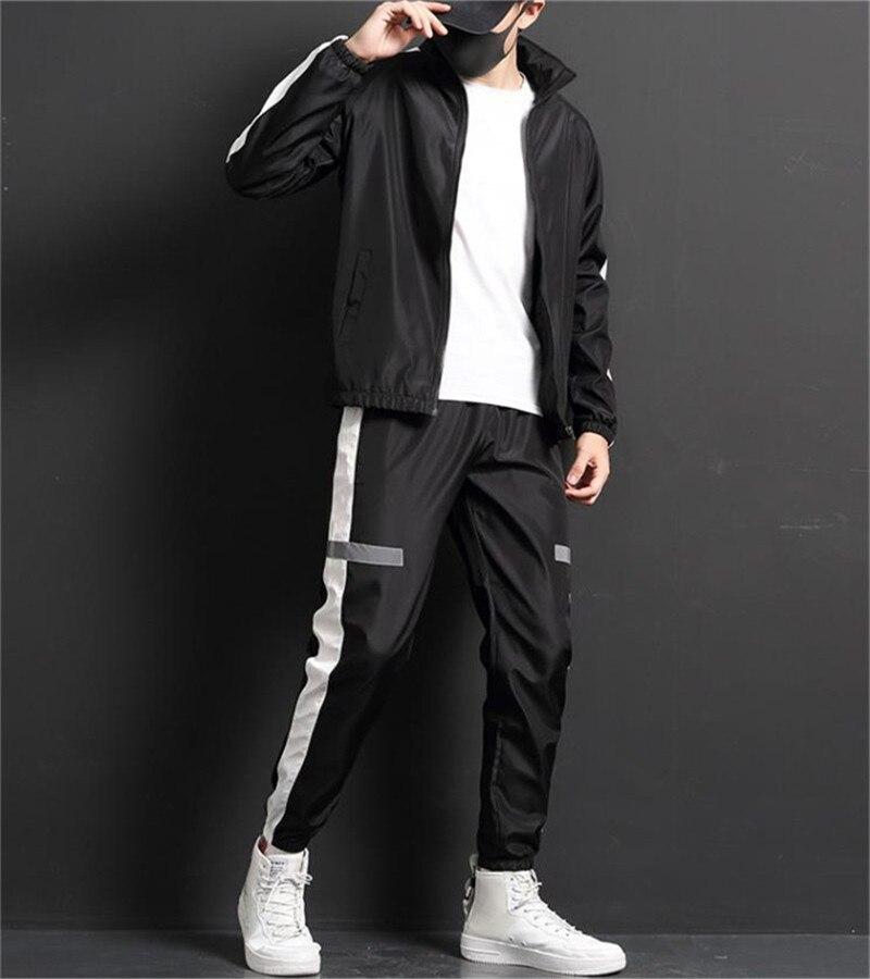 New Reflective Jacket Men Windbreaker Jackets+Pant Unisex Suit Hip-hop Streetwear Night Shiny Zipper Coats Jacke+Joggers Pant