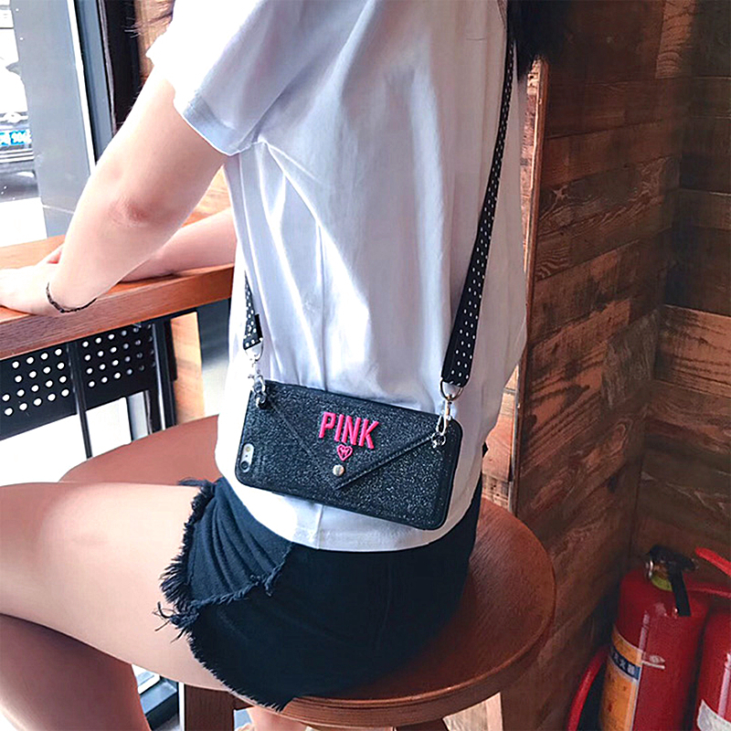 Luxury Pink Glitter Embroidery Phone Case Leather For iphone 8 Plus Case Xs Max X 7 6 Plus S10 Note 8 9 Lanyard Mobile Phone bag