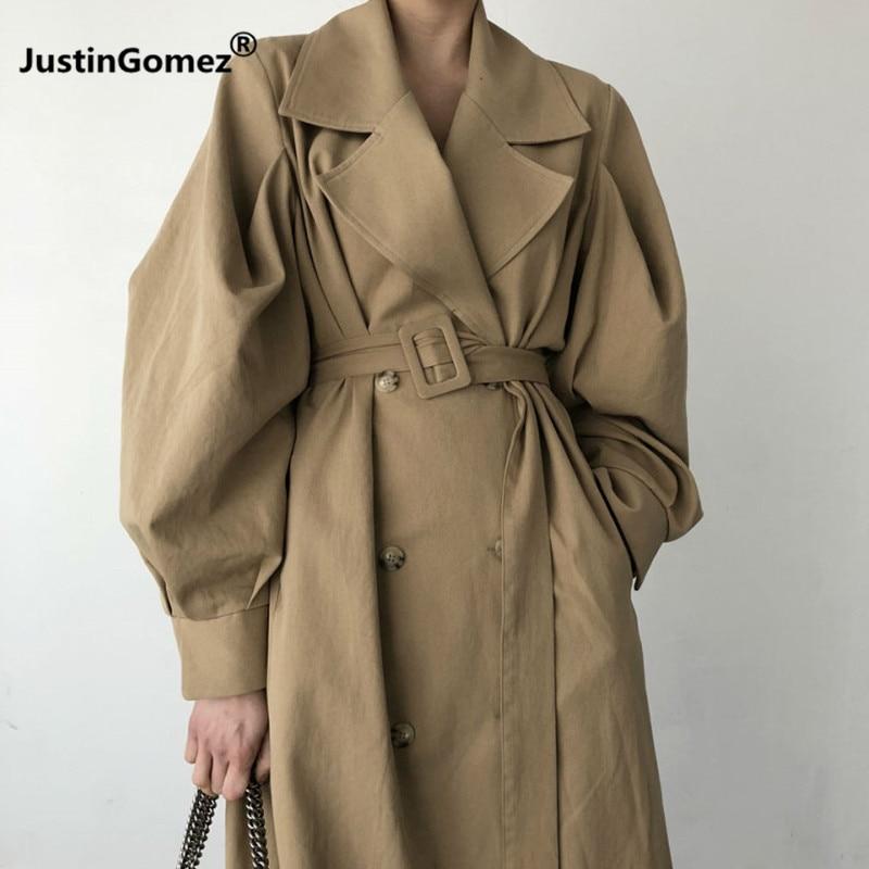 Loose Puff Sleeve   Trench   Coat Korean Women Double-breasted Casaco Corta Vento Feminino Oversize Women's Winter Coat With Belt