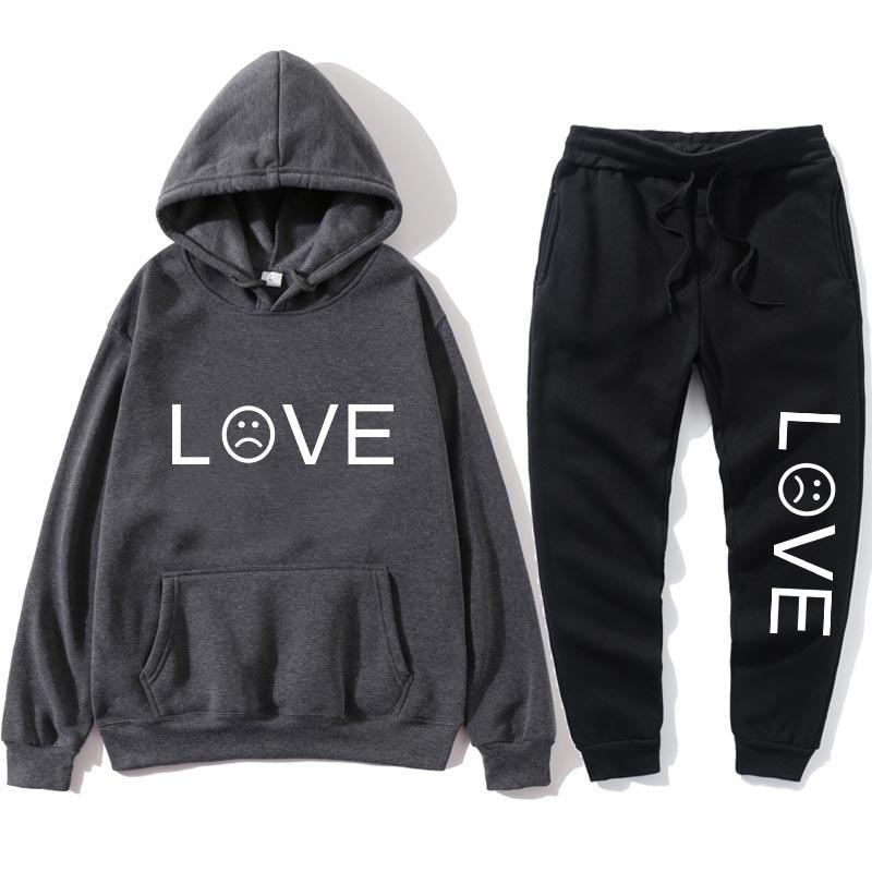 Men's Women's Hoodie Fashion Set Harajuku LOVE Letter Print Pullover Set Men's Women's Casual Suit Hoodie Hip Hop Hoodie