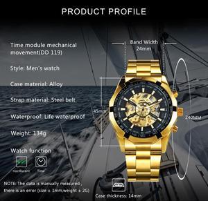 Image 2 - Vencedor oficial clássico relógio automático masculino esqueleto mecânico dos homens relógios marca superior luxo ouro aço inoxidável cinta