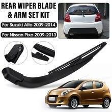 2x carro traseiro pára-brisas janela limpador braço e lâmina conjunto para suzuki alto 2009 - 2014 para nissan pixo 2009 2010 - 2013
