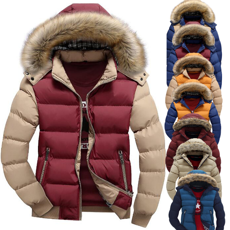 Brand Winter Jacket Coat Men Warm Down Jackets 8 Color Fashion Hooded Fur Collar Outwear Zipper Pocket Thick Casual Men's Clothe