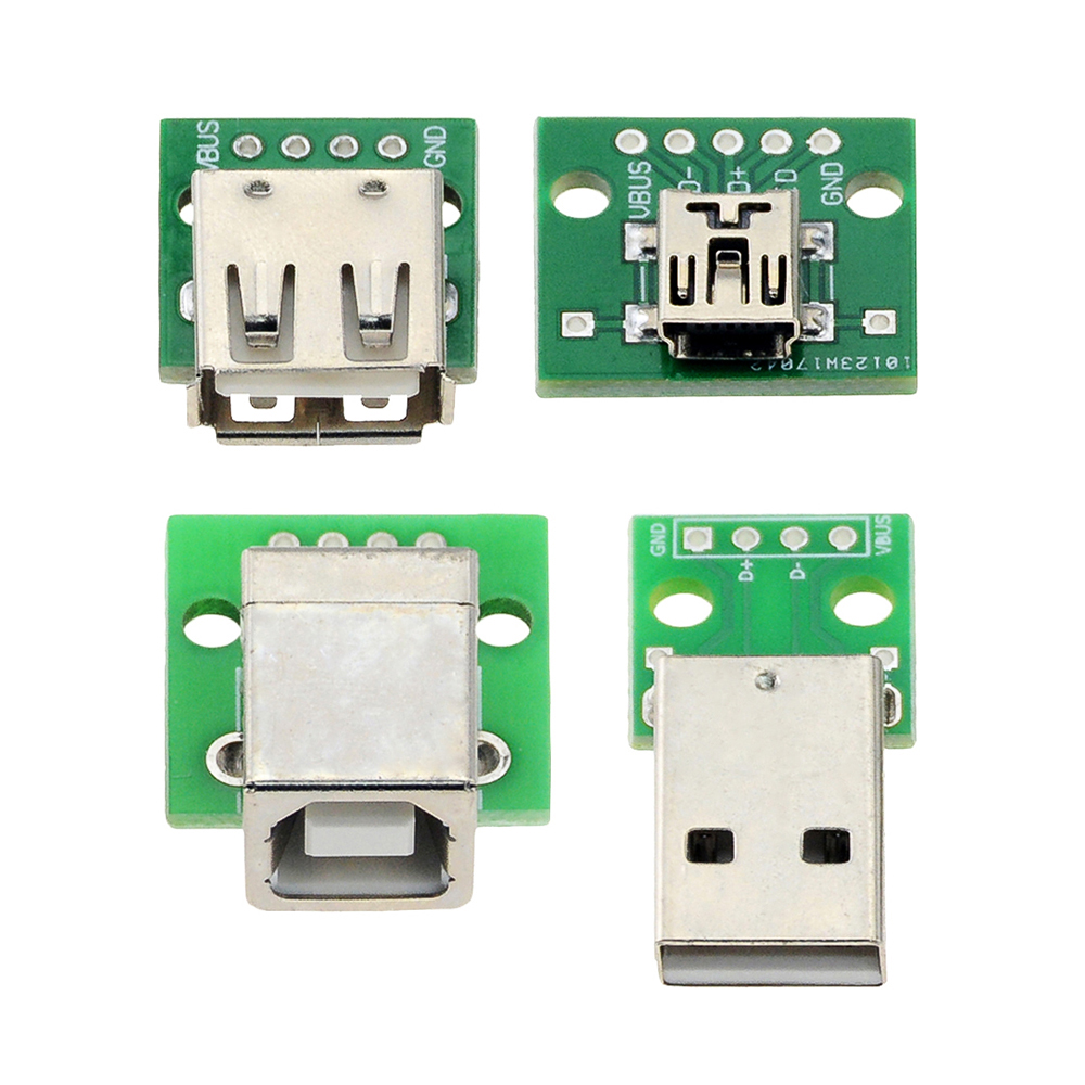 Micro Mini USB USB A Male USB 2.0 A Female USB B Connector Interface To 2.54mm DIP PCB Converter Adapter Breakout Board
