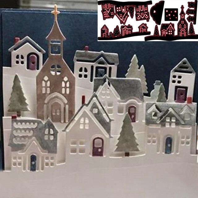 Weihnachten Haus Gehäuse Immobilien Metall Schneiden Stirbt Neue Für DIY Scrapbooking Papier/foto Karten Präge Baum Grenze Stirbt Schneiden