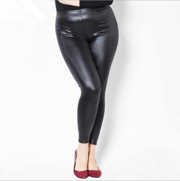 plus size cargo pants women fashion high waist PU leather pants women sexy skinny anlke length slim black pencil pants fw468