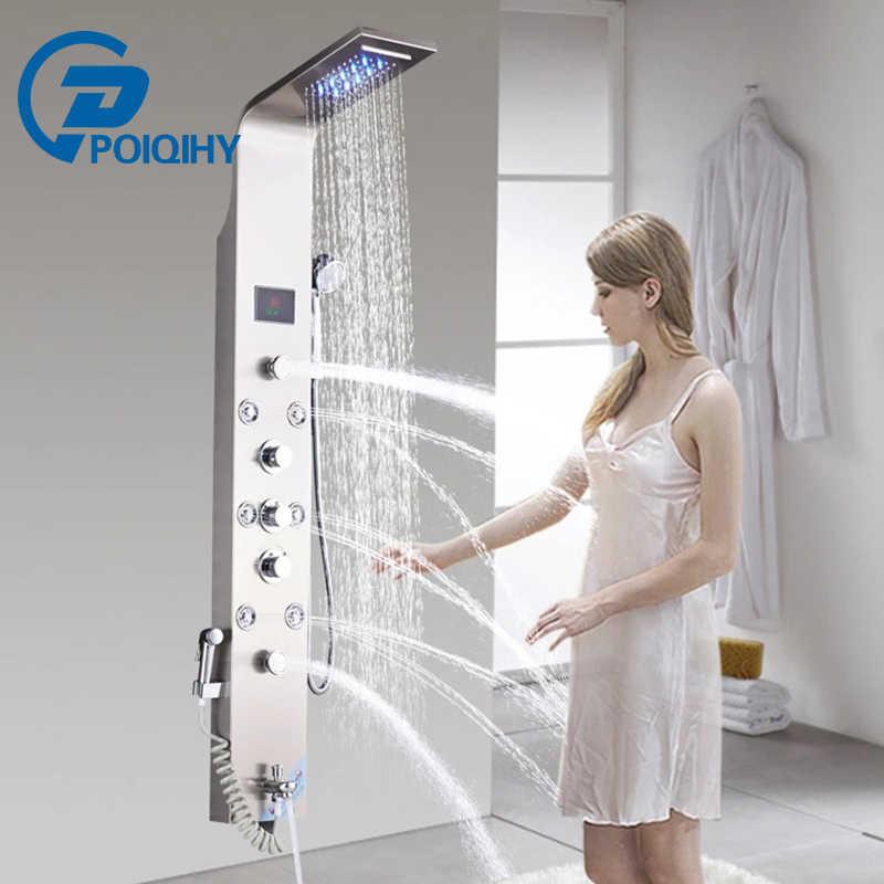 الحمام دش الاستحمام العمود نحى النيكل LED المطر شلال دش الاستحمام شاشة عرض كبيرة 2 تدليك جيتس مع Biedt و حوض صنبور