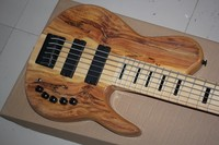 one piece set maple neck through body 6 Strings 9V active electric bass guitar with 9V Active Pickups 01
