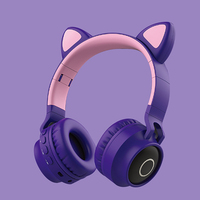 New Cute LED Bluetooth Wireless Cat Ear Headphones Folded Cosplay cat bass Earphone Gaming Headset For music With HD Microphones