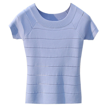 Summer Knitted Tees O-neck Short Sleeve Sweaters Women Cool Knitting Shirts Stretch Basic Tops Ladies Sweater Casual Clothing new summer women tees ladies simple pullover tops korean solid o neck casual slim knitted short sleeve top