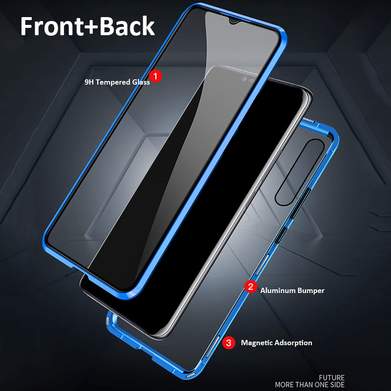 360 Full Protection Magnetic Case For Xiaomi Redmi Note 8 Pro 7 Metal Bumper Double Glass Cover For Mi Note 10 Mi 9 9T 8T funda 2