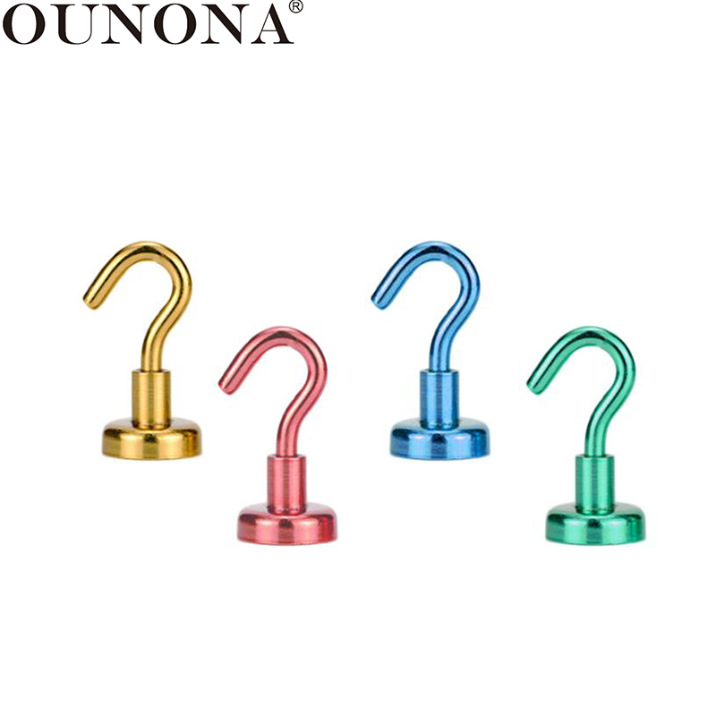 OUNONA 4 Pcs Strong Magnetic Hook Powerful Heavy Duty Neodymium Hook Hanger Home Wall Refrigerator Magnet Hooks For Cup Key Coat