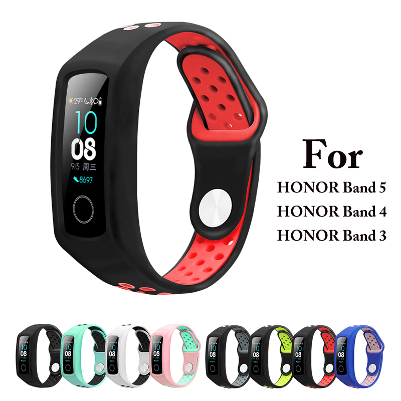 Two-tone Silicone Strap For Honor Band 4 5 Smart Sports Bracelet Huawei Honor Band 3 Porous Breathable Replacement Sports Strap