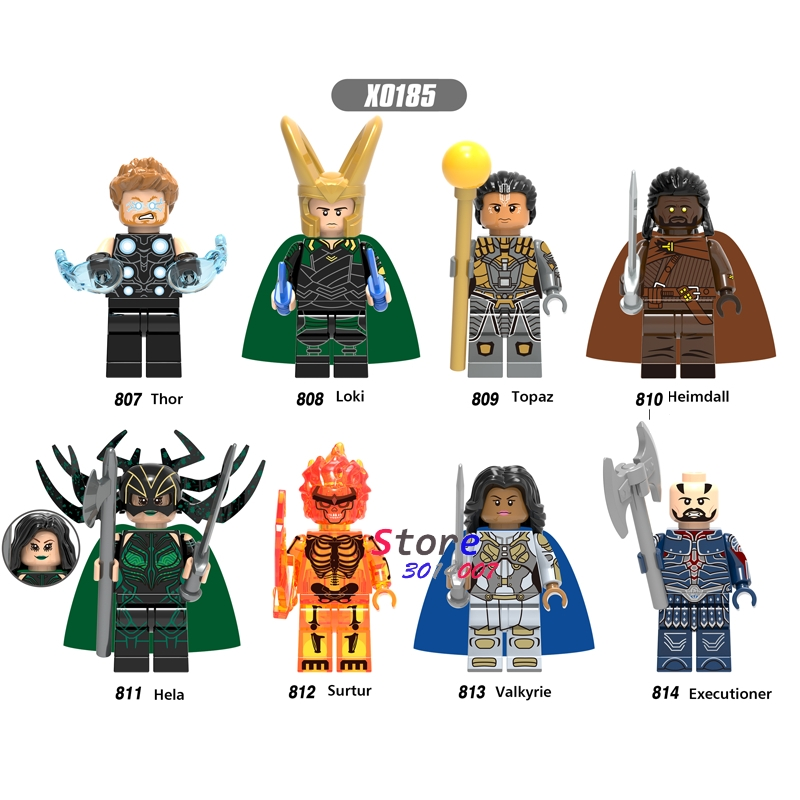 Single Hero Marvel Ragnarok Thor Loki Topaz Heimdall Hela Surtur Valkyrie Executioner Building Blocks Toys For Children