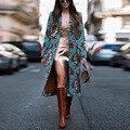 Винтажная Женская куртка на пуговицах с карманами, теплое вязаное длинное пальто, женская верхняя одежда, модная зимняя женская уличная оде...
