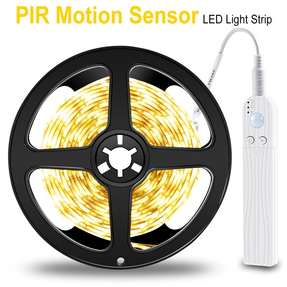 PIR LED Şerit hareket sensörlü LED Mutfak dolap ışığı Bant LED esnek şerit Işık Su Geçirmez Yatak Odası Gece Lambası 5 V Dolap L