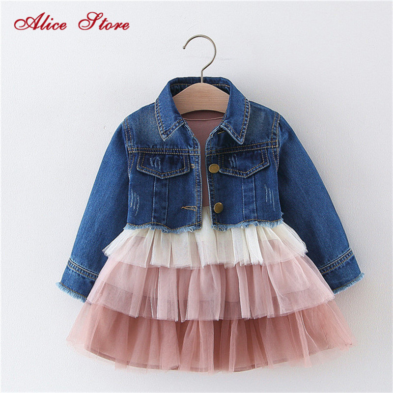 Alice 2019 Girls  dress denim top suit childrens spring and autumn princess cake mesh dress clothing sets kids clothesClothing Sets   -
