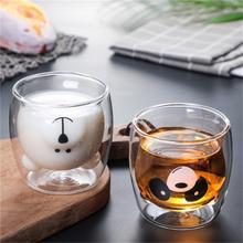 Double Wall Glass Mug Bear Cat Dog Animal Cat Double-layer Glass Mug Coffee Cup Christmas Gift Heat Insulation Cute Milk Cup