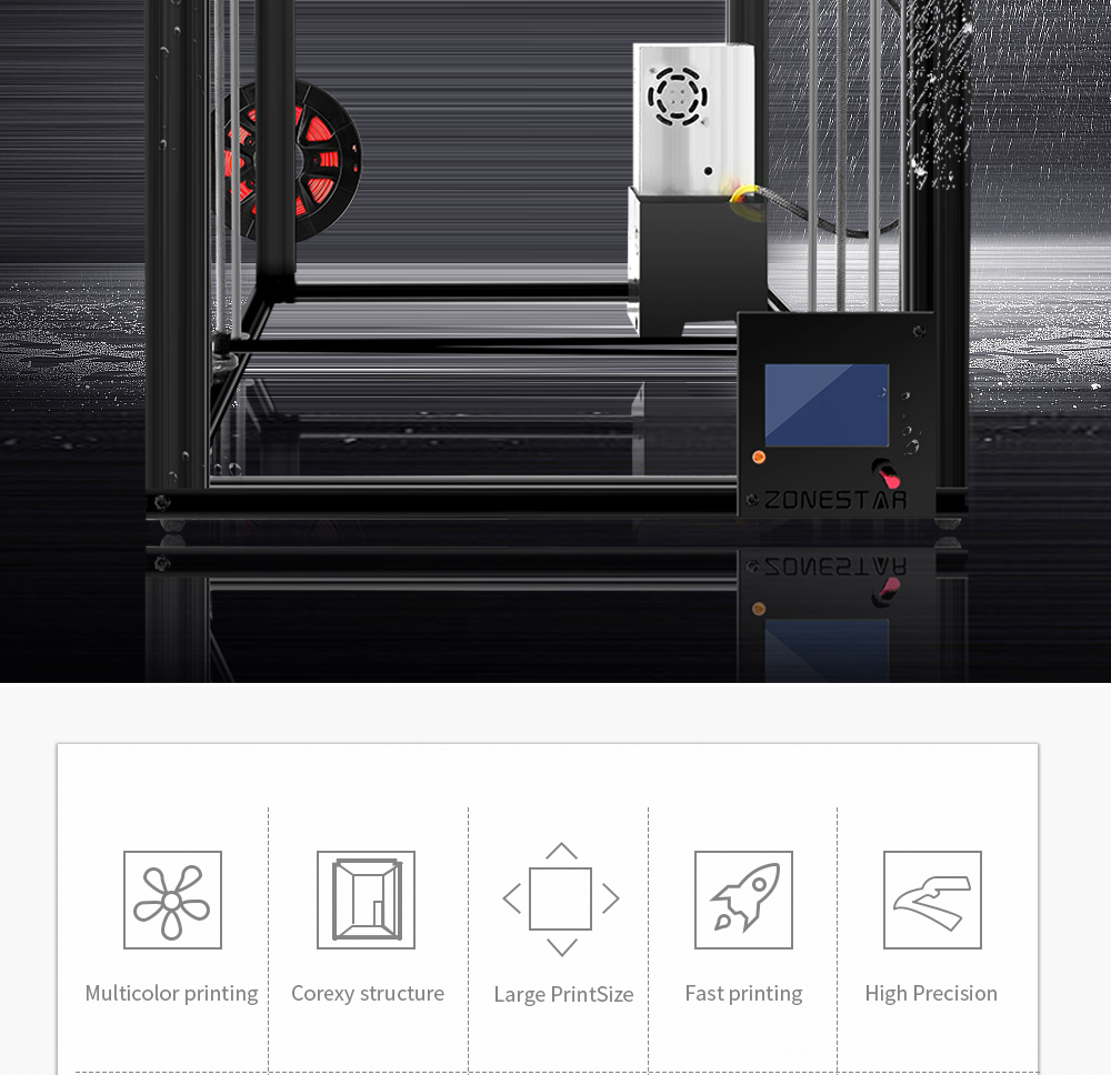 ZONESTAR 3D Printer of Aluminum Frame With Large Size LCD Screen