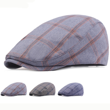 HT2613 Berets Vintage Plaid Men Women Cap Retro Cabbie Gastby Cap Artist Painter Hat Beret Cap Adjustable Ivy Newsboy Flat Cap stylish adjustable buckle dark color retro style men s cabbie hat