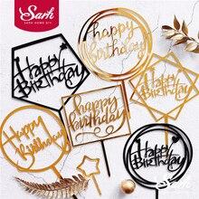 Topper para tarta de feliz cumpleaños decoración de postres para fiesta de cumpleaños adorables regalos de oro plata negro Acrílico