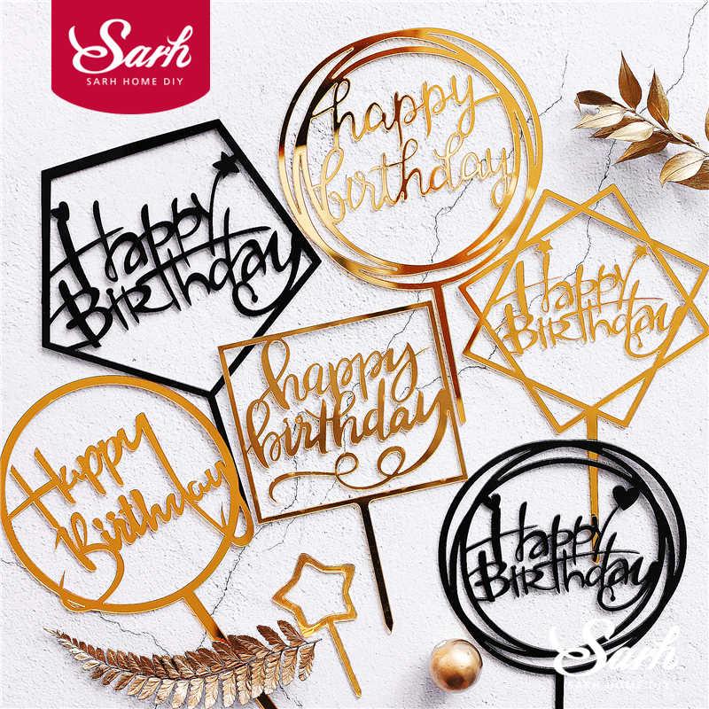 ทองเงินสีดำอะคริลิคเขียนมีความสุขวันเกิดเค้กTopperตกแต่งขนมหวานสำหรับวันเกิดของขวัญน่ารัก
