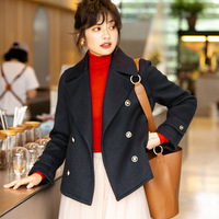 Warm Winter Coats and Jackets Women Wool Double Breasted Coat Orange Ladies Woolen Coat Navy Blue Suit Collar Thick za cappotto