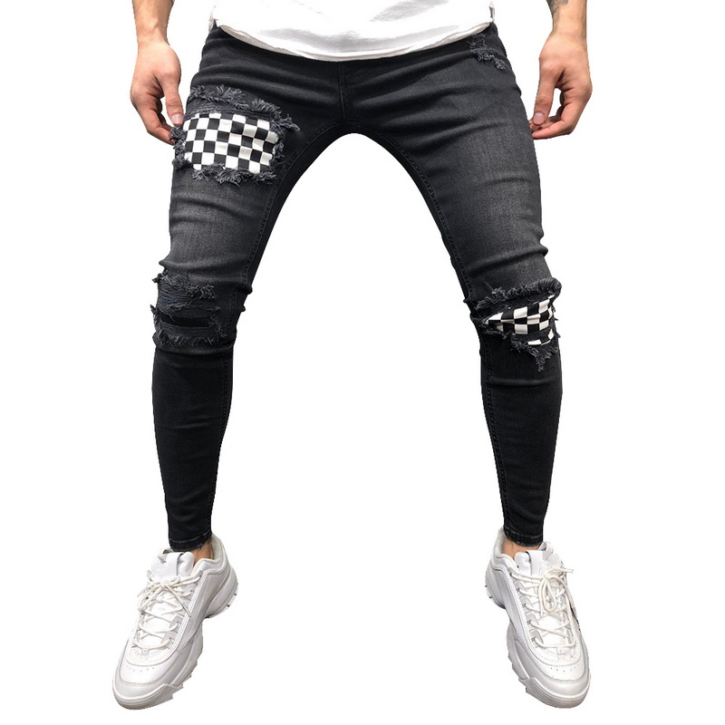 Mens Denim Trousers Fashion Badge Worn Patchwork Skinny Slim Fit Zipper Denim Pant Destroyed Gothic Style Ripped Jeans