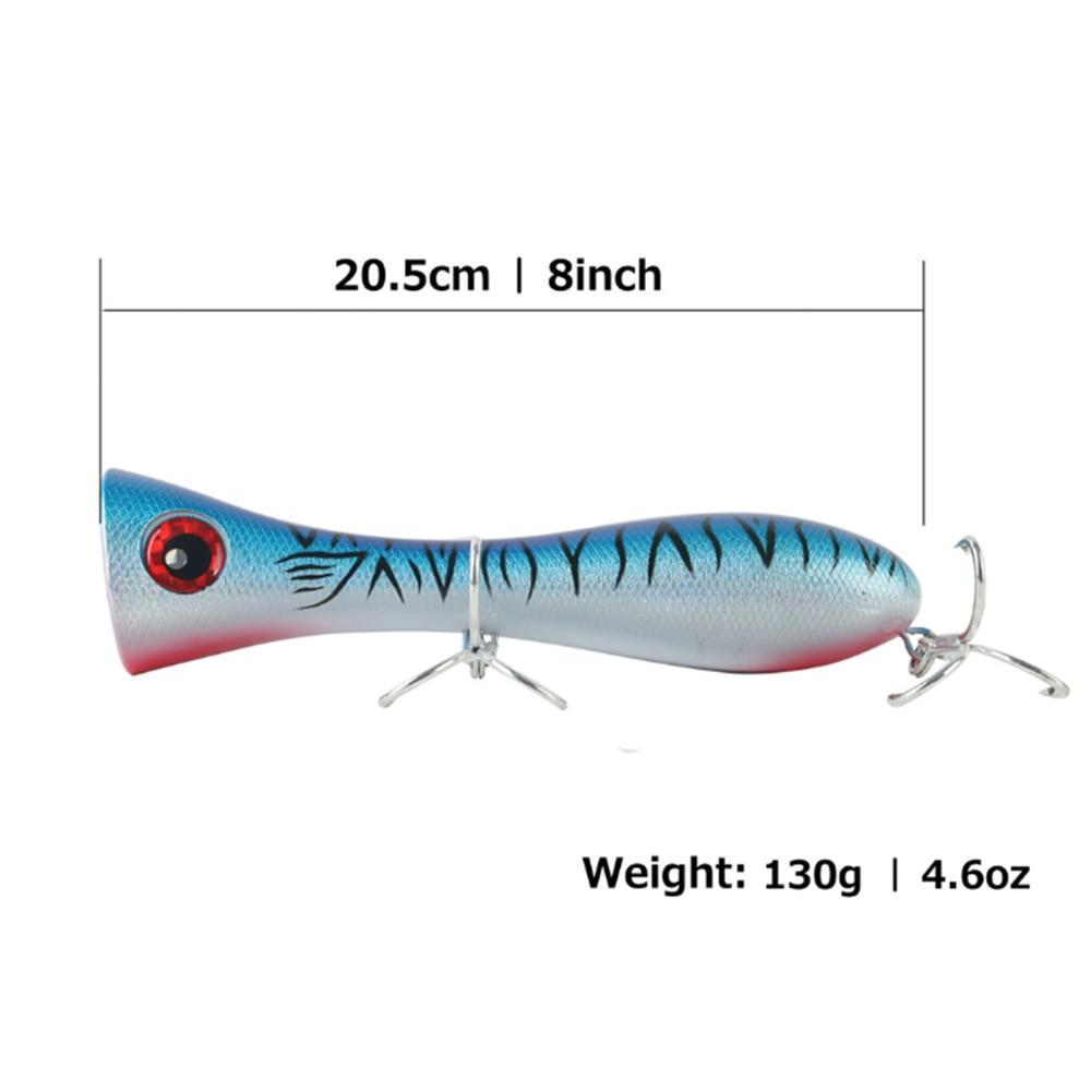 Señuelo de pesca 205mm/130g con tapa de agua gran Popper cebo duro fuertes agujereados GT TUNA POPPER Isca Artificial Leurre pche labio rojo