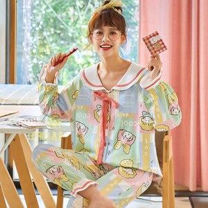 Image 1 - Женский пижамный комплект, длинная Хлопковая пижама с топом на осень и зиму, 2019
