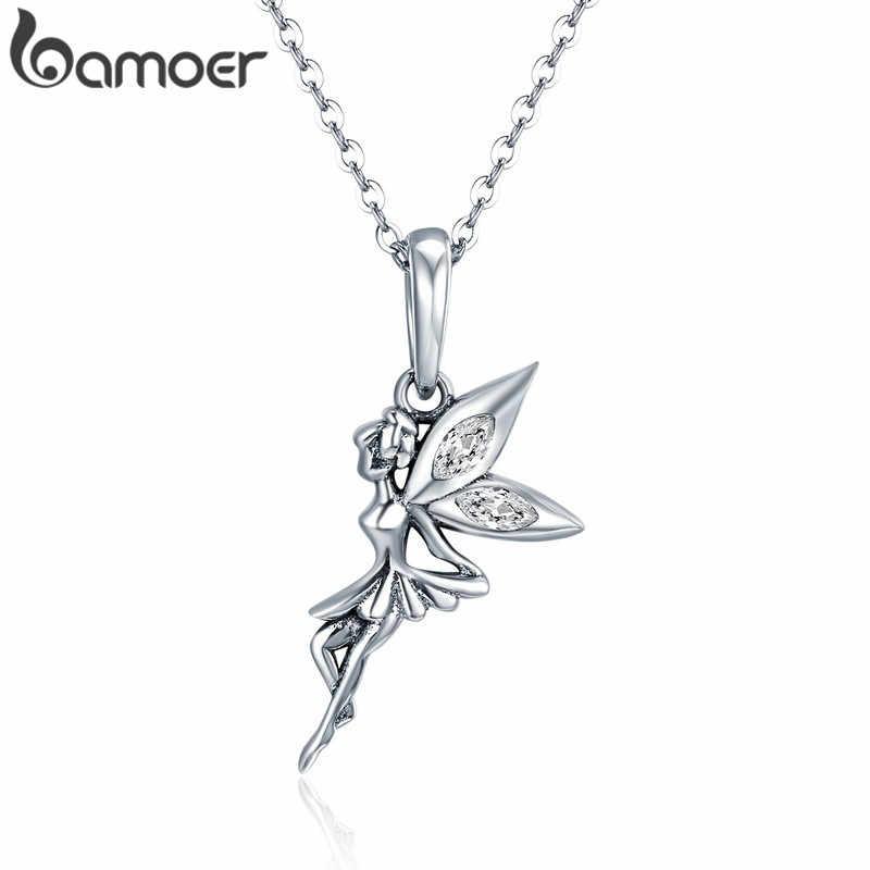 BAMOER 本物の 925 スターリングシルバー花の妖精ブラブラペンダントチャームフィット女性のチャームブレスレット & ネックレスジュエリー SCC359