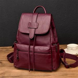 Image 3 - 2020 Leather Backpacks Women Casual Back pack Sac a Dos Femme Travel Backpack school bags for teenage girls mochila feminina