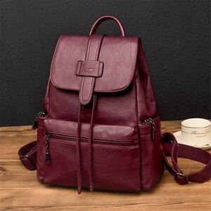 Image 3 - 2020 skórzane plecaki kobiety dorywczo plecak Sac a Dos Femme plecak podróżny torby szkolne dla nastoletnich dziewcząt mochila feminina