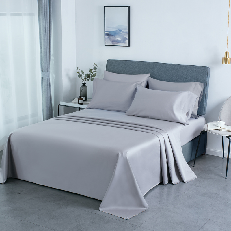 PHF 800 Thread Count Egyptian Cotton Sheet Set Satin Weave Deep Pocket Cozy Durable Wrinkle Resistant 4 Pieces King Size Grey