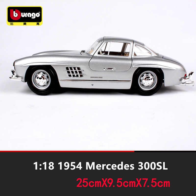 Bburago 1:18 1954 Mercedes 300SL Auto Legering Model Auto Simulatie Auto Decoratie Collection Gift Toy Spuitgieten Model Jongen Speelgoed