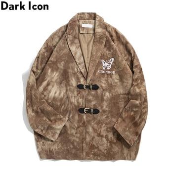 Dark Icon Butterfly Embroidery Tie Dyeing Jackets Men Turn-down Collar Mens Jacket Preppy Style Outwear Man