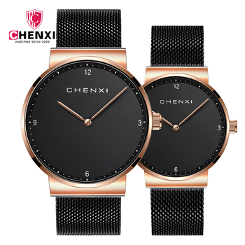 CHENXI Luxury Ultra Thin Couple Watch Fashion Stainless Steel Lovers Quartz Gift Watches For Women And Men Dress Wristwatch hot fashion classics black leather lover s watches creative couple gift for lovers geometric quartz luxury band wristwatch