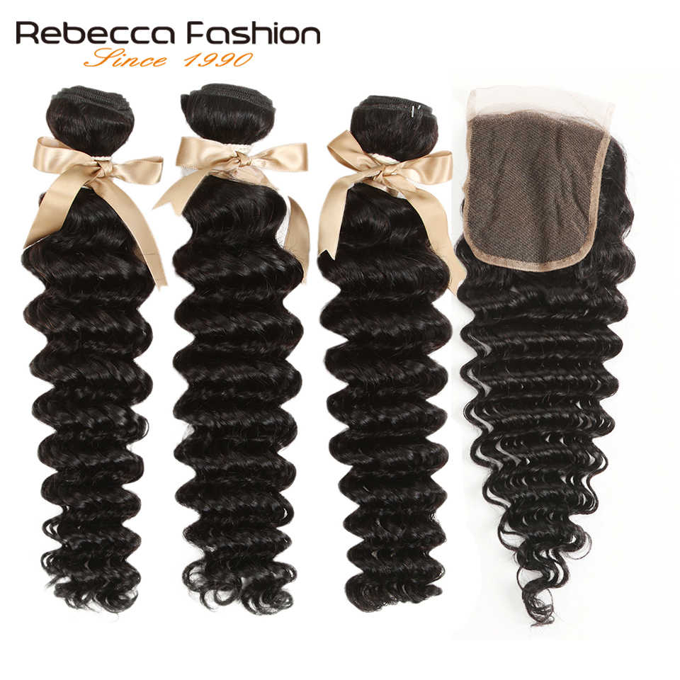 Rebecca Remy Loose Deep Wave Brazilian Human Hair 3 Bundles With Closure 4x4 Brazilian Loose Deep Wave With Lace Closure
