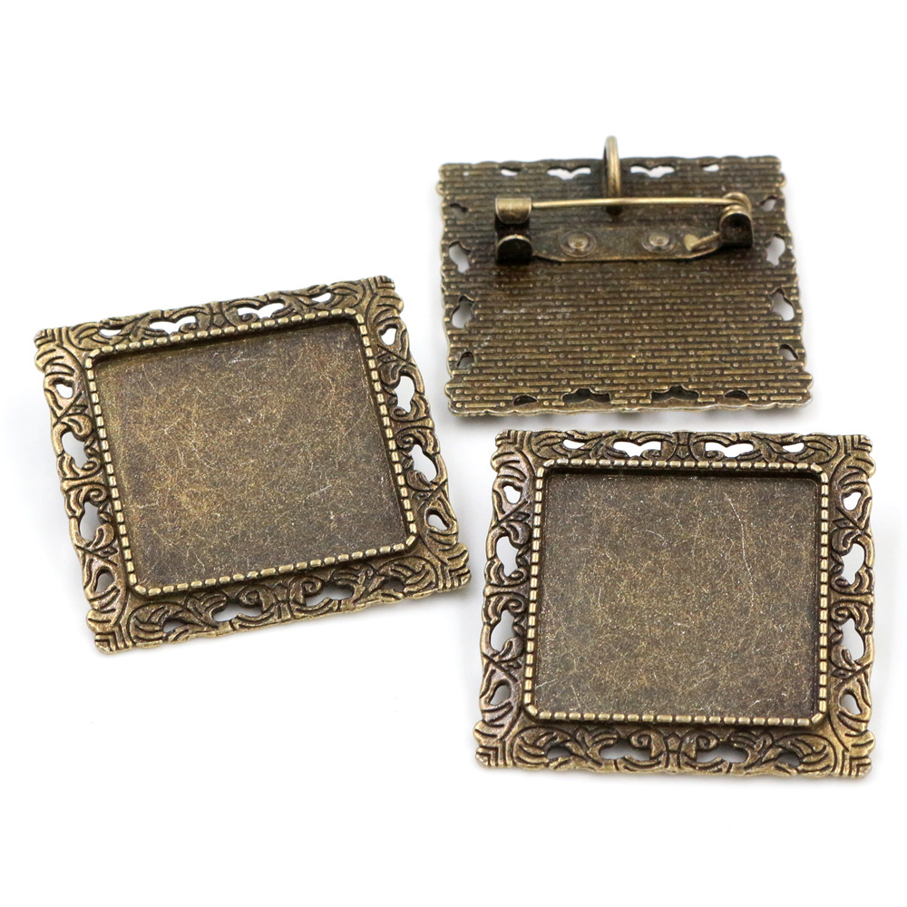 New Fashion  2pcs 25mm Inner Size Antique Bronze Brooch Square Cabochon Base Setting (A7-36)