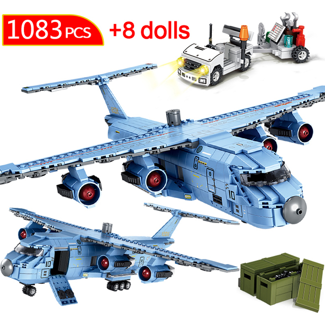 1083PCS City Heavy Airplane SWAT Team Aircraft Transport Building Blocks Military Police Diy Figures Bricks Toys for Children