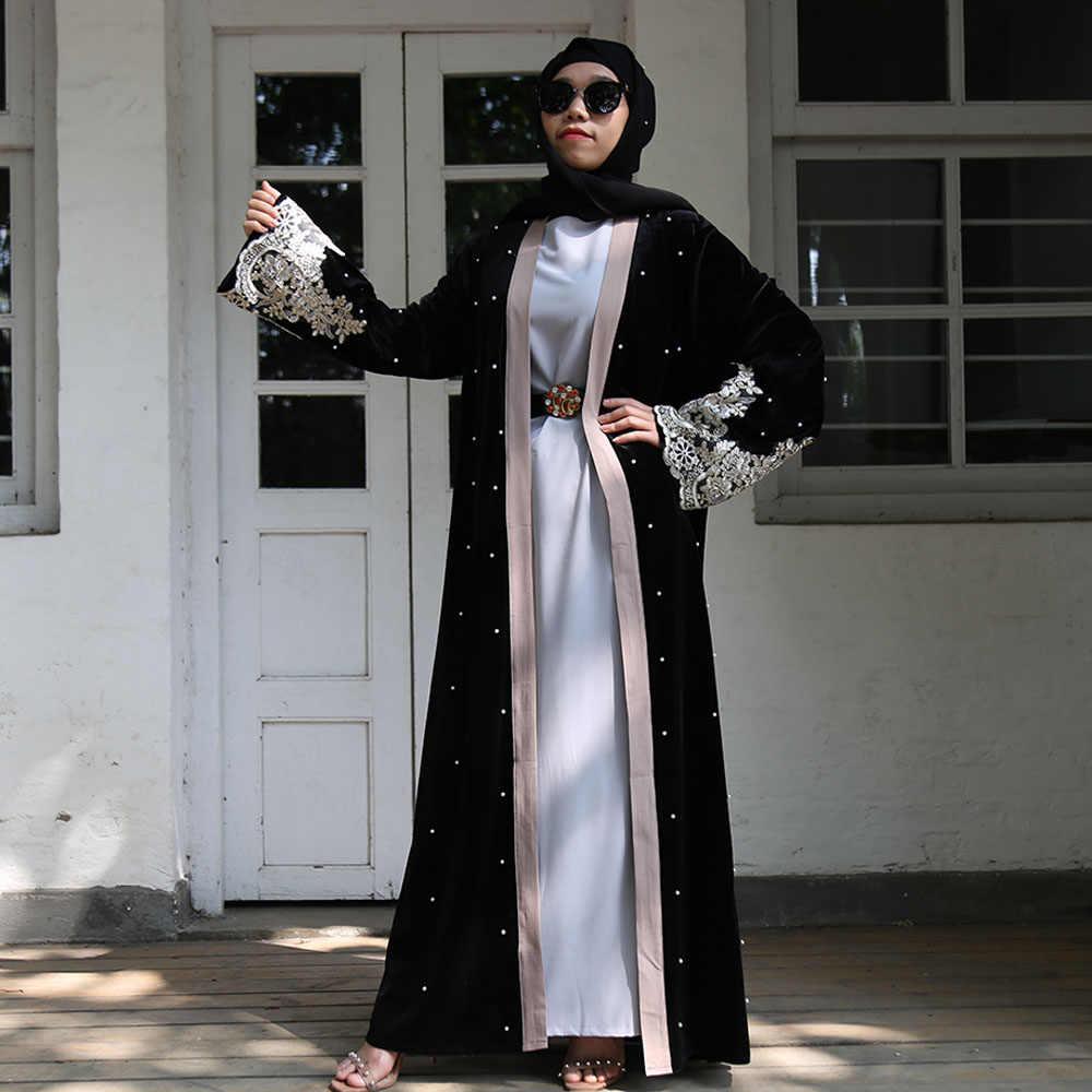 ブラックレースベルベットアバヤ着物カーディガンドバイヒジャーブイスラム教のドレス女性のトルコイスラム服カフタン Abayas カフタンローブ Kleding