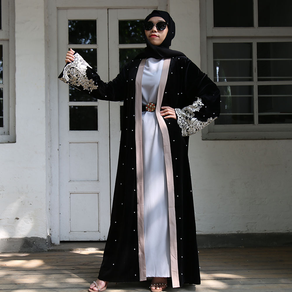 Black Lace Velvet Abaya Kimono Cardigan Dubai Hijab Muslim Dress Women Turkish Islam Clothing Kaftan Abayas Caftan Robe Kleding