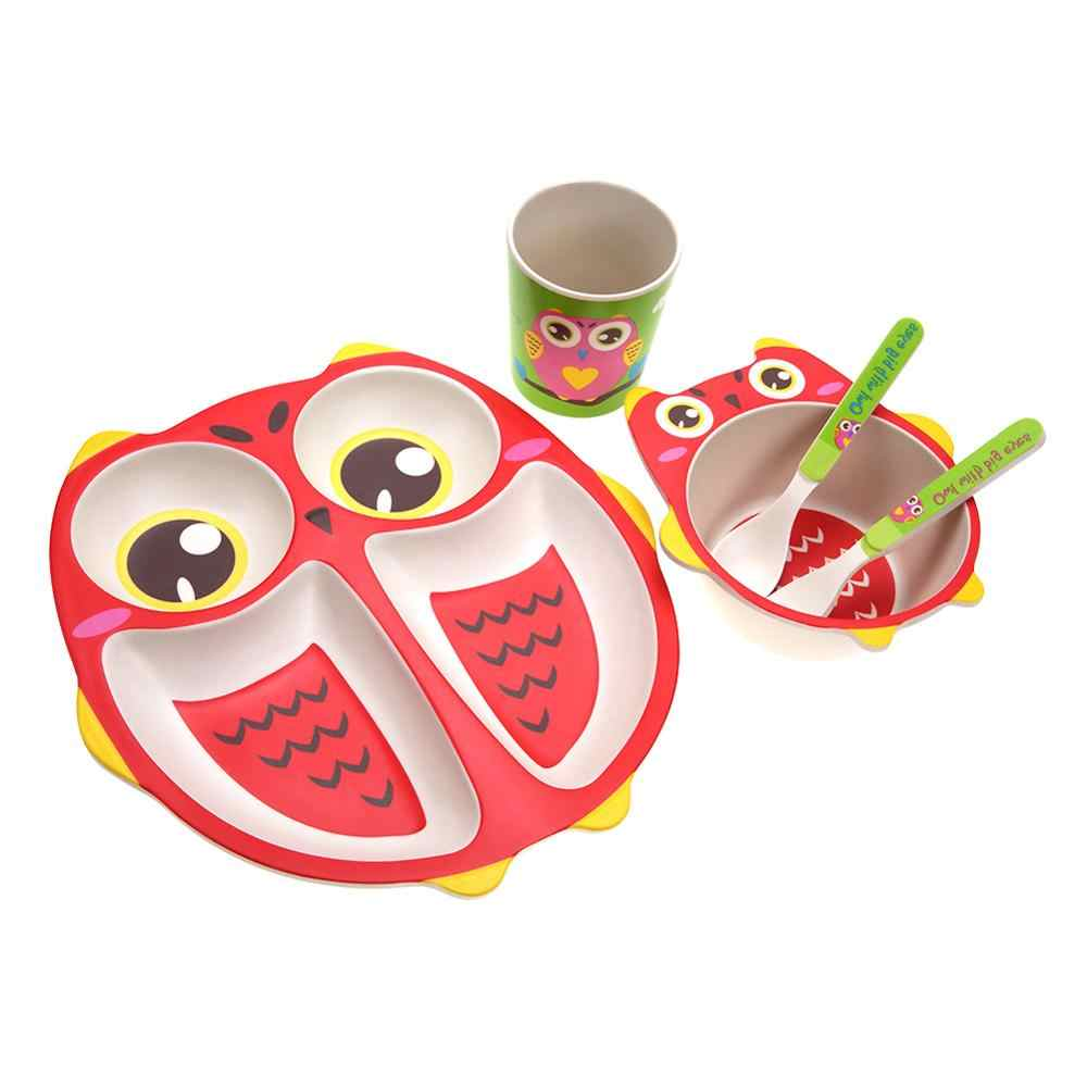 5Pcs/Set Cartoon Baby Dishes Set Bamboo Fiber Lion Bowl Cup Plates Sets Toddler Children Dishes Tableware Dinnerware Hot Sale