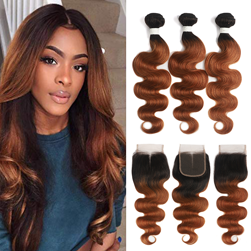 SOKU Body-Wave-Bundles Closure Blonde Brown Non-Remy-Hair Brazilian with T1b/27-30 Ombre