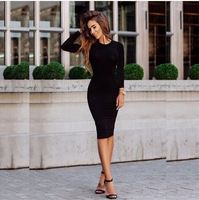 2019 Autumn Hot Slim Bodycon Dress Women Solid Color Chic Party Dresses Casual Sleep Wear Inside Wear Vestidos Pencil Dress 4