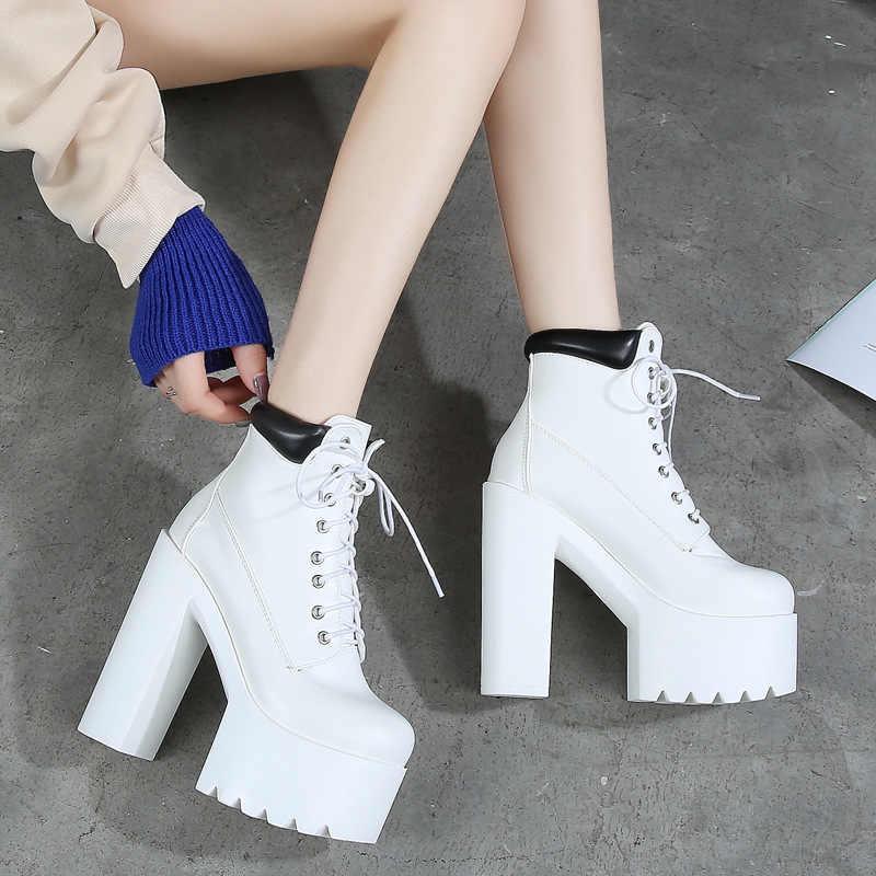 COWCOM 14 Cm Thick Heel, Super High Heel T-Stage Night Club Martin  women thigh high boots  women winter boots ZYW-659-13