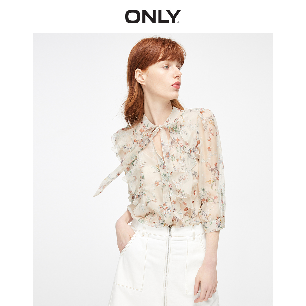 ONLY  Loose Fit Lace-up V-neckline Floral Ruffled Chiffon Shirt | 119305501