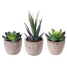 Decorative Pots Ball-Plants Artificial-Flower Faux-Succulent 3PCS OUNONA with for Office