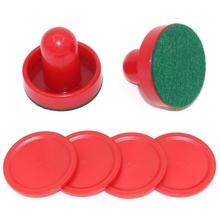 8 sztuk zestaw Red Hockey Equipment stoły stół gry plastikowe hokejowe Pushers Puck stoły do gier Goalies akcesoria nowość tanie tanio Plastic 76mm 51mm Air Hockey Table Accessories 8pcs set